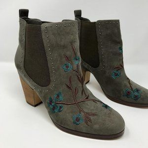 CROWN VINTAGE Green Gray Embroidered Booties